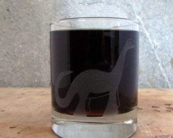Brontosaurus Dinosaur | Etched Old Fashioned Cocktail Scotch Glass
