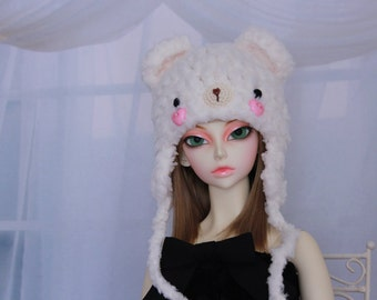 Cream Bear Hat for SD BJD, 1/3 Doll, Size 8-9