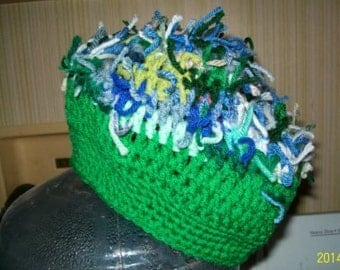 Yarn Sprouts Slouch Beanie with Med Green Brim in Mostly Greens OOAK