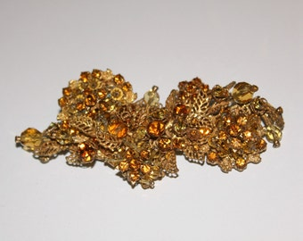 DeMario Designer Vintage Brooch Pin Large Amber Rhinestones Faceted Beads Signed