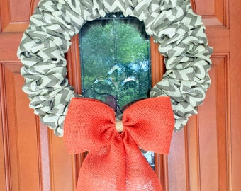 "Burlap Wreath, Front Door Wreath, Chevron Wreath with Orange Bow, Autumn Wreath, approximately 21""  MADE TO ORDER"