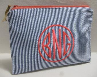 Monogrammed Preppy Cosmetic Bag in (Natural Circle)  in Seersucker