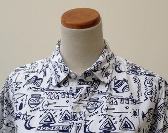 Early 90s wild black and white print Collections Basic Elements mens M shirt