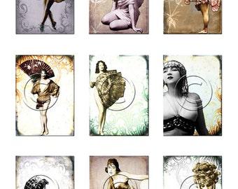 Vintage women with fans/digital collage sheet/instant download