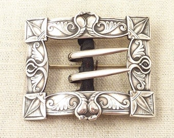 "Antique Art Nouveau Unger Brothers Sterling ""Kissing Asps"" Buckle Brooch"