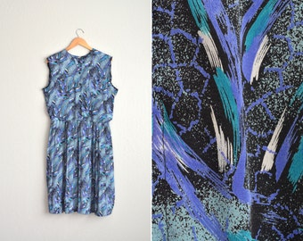 SALE / vintage '80s PAINTERLY print PLEATED sleeveless dress. size l xl.