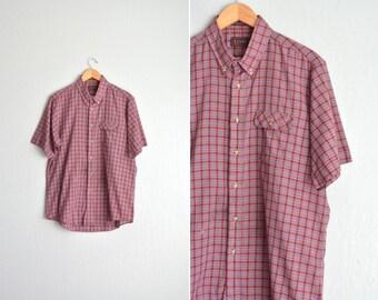 SALE / vintage men's LEVI'S maroon Plaid short sleeve button-up shirt. size xl.