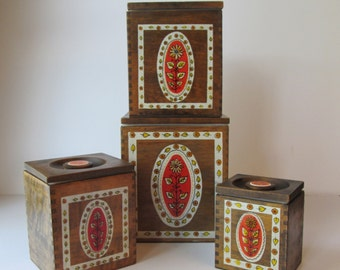 Hand Painted Wood Canisters