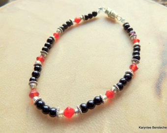 Black Onyx and Red Crystal Bracelet, Black and Red, Handcrafted Jewelry, Gemstone Jewelry, Gift for Her