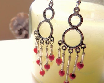 Chandelier Earrings, Red and Silver, Native Style Jewelry, Red Coral Jewelry, Cowgirl Jewelry, Handcrafted Jewelry, Gemstone Jewelry