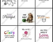 """Cat Lovers Pin Back Buttons Badges Flair Party Favors - Pack of nine 1"""" round pinback buttons"""