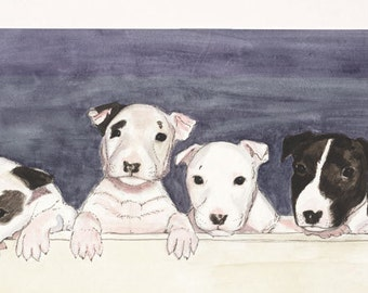 Original watercolor of Seven- Zoe's puppies