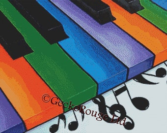 Music Cross Stitch Kit Licensed Art by Thomas Fedro Made By GeckoRouge - Modern Art - Keys - Keyboard - Piano