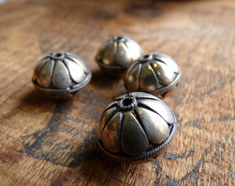 Sterling Silver Banded Petal Accent Beads