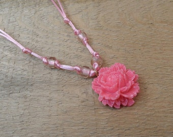 Pink Rose necklace pink resin rose glass beads