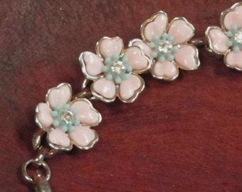Pink Flower Rhinestone Bracelet  Vintage 1950