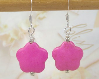 Hot Pink Daisy earrings made with magnesite stone - Support Breast Cancer - Pink earrings - Easter earrings
