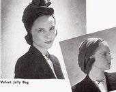 INSTANT DOWNLOAD-Vintage 1940s wartime 'jelly bag' hat sewing pattern-  easy make - PDF