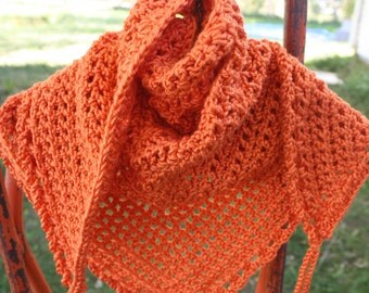 Crocheted Triangle Road Trip Scarf in Pumpkin Orange