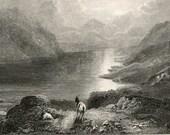 Antique Engraving of Loch Ericht, Scottish Highlands. Published in 1860