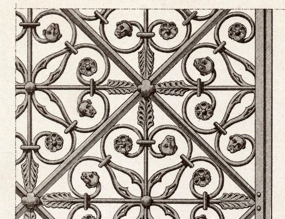 Antique Engraving of a 14th-Century Gate in the Museum of Rouen. 1880 French Print of Decorative and Architectural Metalwork. Plate 21