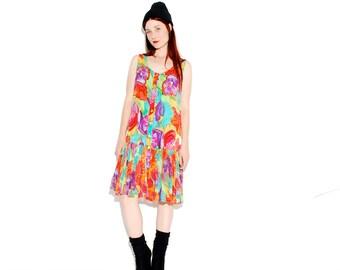 FLORAL 90s DRESS // colorful floral print, rave hippie festival dress, skater dress, vintage dress, sun dress, 90s grunge 90s clothing