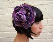 Purple recycled vintage silk satin and lace purple rose flower fascinator headpiece