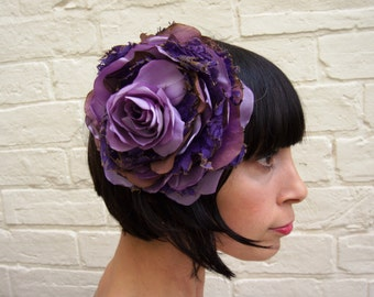 Purple recycled vintage silk satin and lace purple rose flower fascinator headpiece