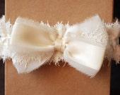 Ivory Chiffon and Lace Bow Garter - Eva