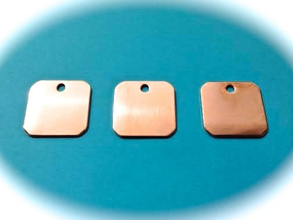 "10 Blanks 1-1/8"" x 1-1/8"" Copper Keychain Blanks 18 Gauge RAW or POLISHED 5mm Hole - QTY 10"