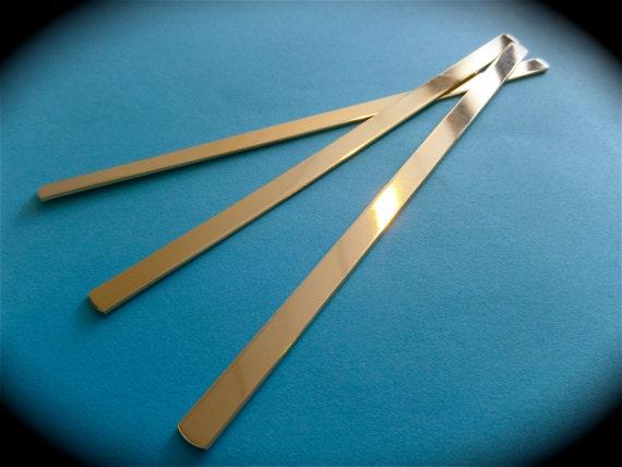 """2 - 1/4"""" x 6"""" Jeweler's BRASS Polished Bracelet Blanks 18 Gauge (QTY. 2) - Made in USA"""