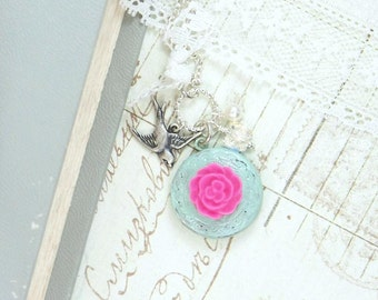 Flower Locket Necklace Small Locket Necklace Locket Jewelry Shabby Chic Necklace Round Locket Necklace