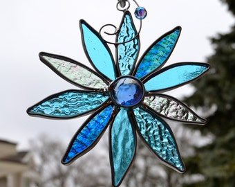 Icy Blue Stained Glass Flower abstract flower suncatcher