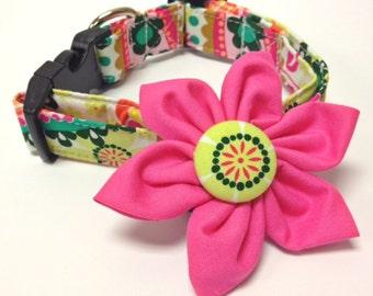 Dog Collar Flower Set - Botanical - Collars With Curb Appeal - Dog Collar Flower Set - Cat Collar Flower Set - Collar Bow - Adjustable