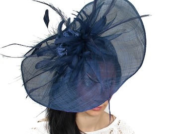 Donika Navy Fascinator Hat for Weddings, Kentucy Derby With Headband