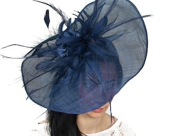 Vaselina Navy Fascinator Hat for Weddings, Kentucy Derby With Headband