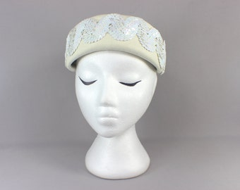 50's Pillbox Hat / Vintage Alabaster Sequin and Wool Hat / Women's Vintage Topper