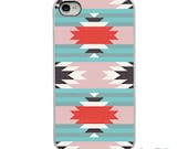On Sale! Aztec Teal Orange White Grey with White, Black or Clear Sides iPhone Case - IPhone 4, 4S, 5, 5S, 5C Hard Cover Art artstudio54