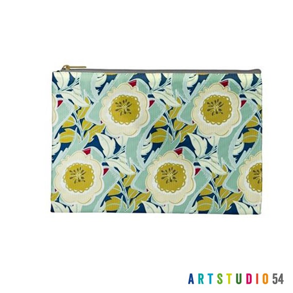 "Floral Pattern on a Pouch, Make Up, Cosmetic Case Travel Bag Pencil Case - 9"" X 6"" -  Large -  Made by artstudio54"