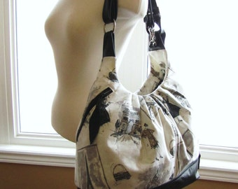 Extra large tote bag, convertible backpack purse, messenger, and shoulder bag - Taupe and black Paris prints