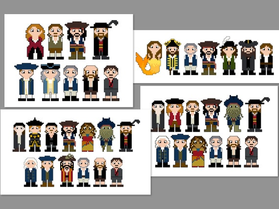 Pirates of the Caribbean 4 Pattern Bundle Pixel People Character Cross Stitch PDF PATTERN ONLY