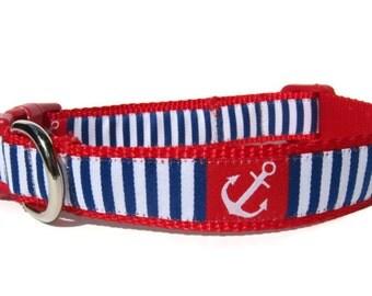 "Nautical Dog Collar 3/4"" wide Adjustable Dog Collar in Extra Small, Small, Medium, or Custom Size Dog Collar"