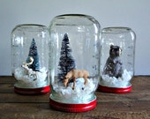 Handmade Snow Globe - Holiday Deer and Bottle Brush Tree - CantonBoxCompany