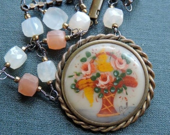 Antique Assemblage Necklace Antique Hand Painted Flower Basket Brooch with Moonstones