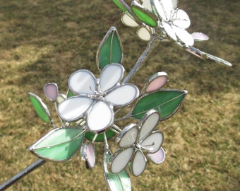 Apple Blossom Branch Stained Glass OOAK Sculpture Home Decor