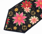 Poinsettia Christmas Quilted Table Runner, Pink and Green on Black, Elegant Holiday Quilted Table Runner