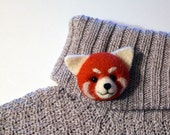 Little Red Panda Brooch, needle felted miniature, jewelry, red, white, wool