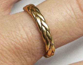 Thick 10k solid gold braid ring