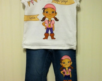 Custom Painted Disney Clothing Izzie personalized Jake Neverland Pirates Set shirt and jeans sizes 24m 2T/2 to 12