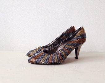 beaded heels / vintage party heels / Empire heels